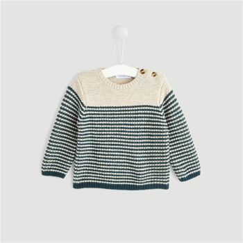 Bout'Chou - Pull point mousse 30% laine - beige