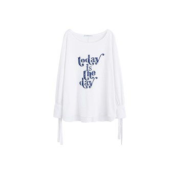 Violeta by Mango - T-shirt coton bio message - blanc