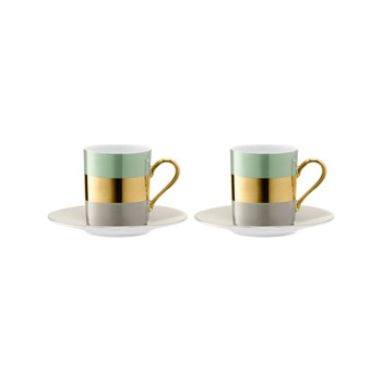 LSA International - Bangle - Set di 2 tazze da caffè e piattino 0,1L - dorato