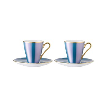LSA International - Sorbet - Set di 2 tazze da caffè e piattino 0,1L - menta