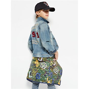Guess Kids - Veste jean applications dos - bleu