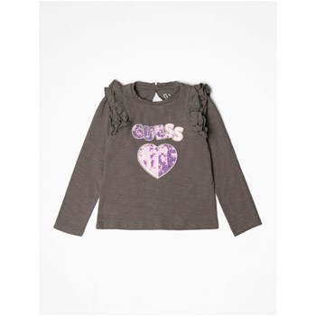 Guess Kids - T-shirt logo frontal paillettes - gris
