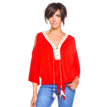 Love U - Leonie - Top col V avec collier plume - rouge