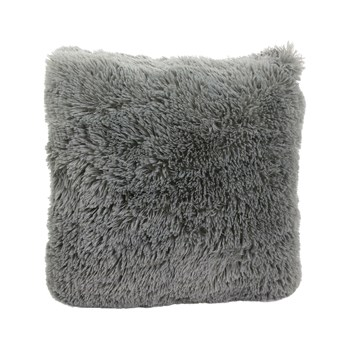 The Home Deco Factory - Coussin à poils longs 40 X 40 cm - gris