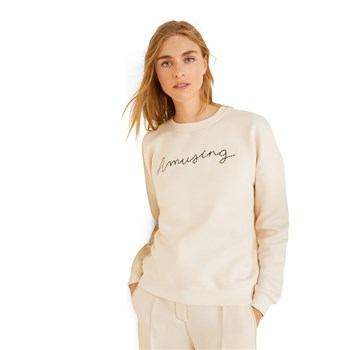 Mango - Sweat-shirt message brodé - blanc