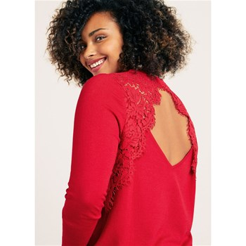 Violeta by Mango - Pull-over détail guipure - rouge