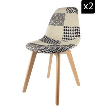 Table en Fête - Lot de 2 Chaises scandinaves Patchwork - blanc