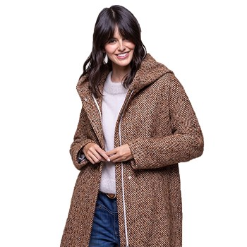9367ee4b4c4e Trench and coat - Manteau chevrons à capuche 33% laine - marron