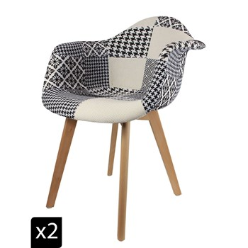 Home Deco Art - Lot de 2 fauteuils scandinaves - beige