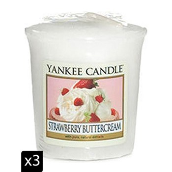 Yankee Candle - Fraise chantilly - Set di 3 candele votive - bianco