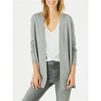1.2.3 - Please - Gilet waterfall 55 % laine - gris chiné