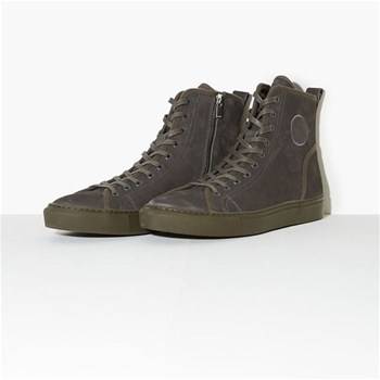 The Kooples - High-Sneakers aus Leder - khaki