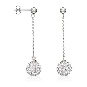 Original Crystal - Bubble pendantes blanches - Pendientes chapados en plata decorados con Swarovski® Elements - plateado