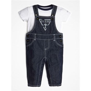 Guess Kids - Ensemble T-shirt et salopette en jean - blanc