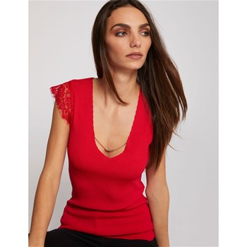Morgan - Cléo - Pull tricot col U dentelle et chaine - rouge