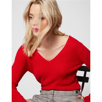 Morgan - Lati - Pull tricot dos col V dentelle - rouge