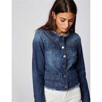 VANI - VESTE DENIM DÉTAIL STRASS - BLEU JEAN Morgan