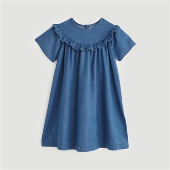 Monoprix Kids - Robe chambray à volants - bleu