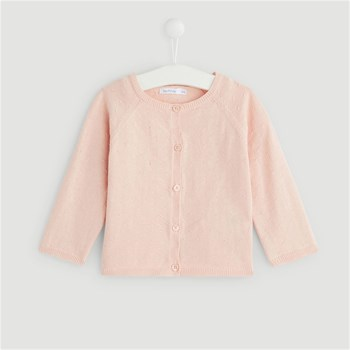 Bout'Chou - Cardigan fin en point fantaisie - rose