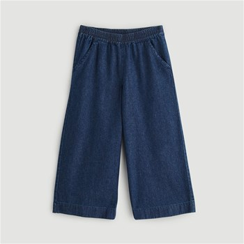 Monoprix Kids - Pantalon large en chambray - bleu