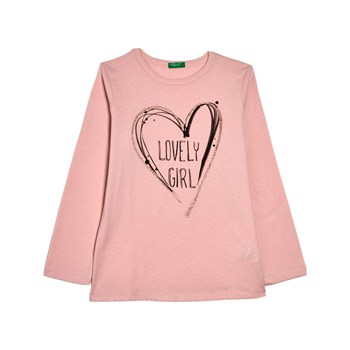 Benetton - T-shirt manches longues - rose clair