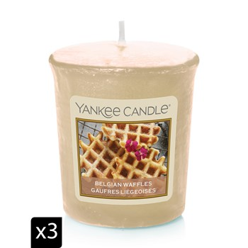 Yankee Candle - GAUFRES LIEGEOISES - 3 candele votive - giallo