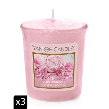 Yankee Candle - BOUQUET POUDRE - Set van 3 Votives geurkaarsen - roze