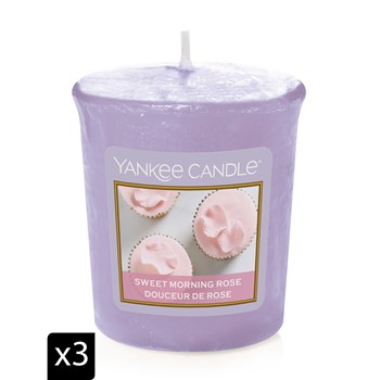 Yankee Candle - DOUCEUR DE ROSE - Set van 3 Votives geurkaarsen - lichtpaars