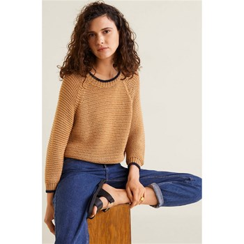 Mango - Pull-over maille ajourée / - marron
