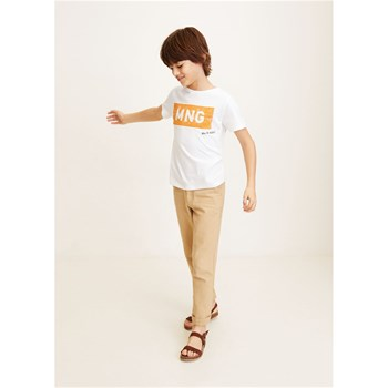 Mango Kids - T-shirt en coton avec message - blanc