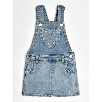 Guess Kids - Salopette jean applications perles - bleu ciel