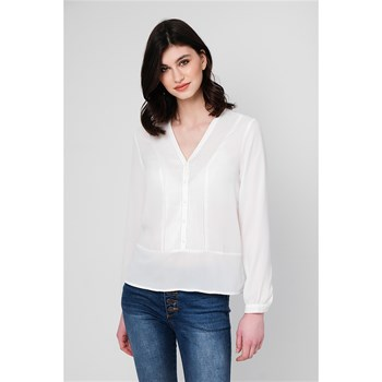 BLOUSE PLASTRON PLISSÉ - ECRU Best Mountain