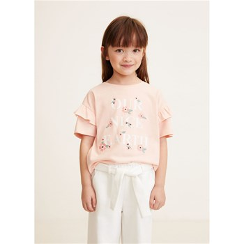 Mango Kids - T-shirt brodé - rose