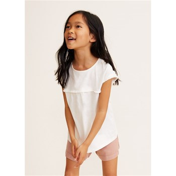 Mango Kids - T-shirt bords effilochés - blanc