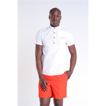 Bonobo Jeans - Chemise manches courtes col mao 30 % lin - blanc