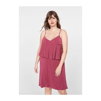 Violeta by Mango - Robe côtelée à volants - rouge