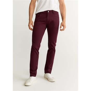 Mango Man - Pantalon slim-fit 5 poches en coton - bordeaux
