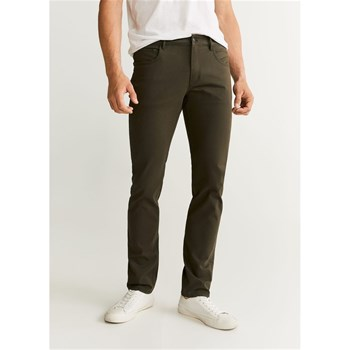 Mango Man - Pantalon slim-fit 5 poches en coton - kaki