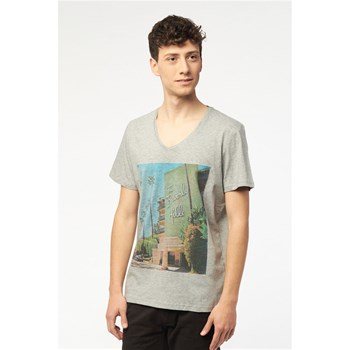 Best Mountain - T-shirt col V jersey - gris chiné