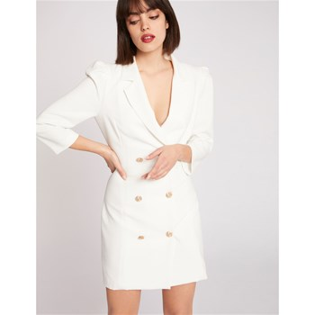 Morgan - Robe smocking - blanc
