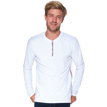 French Denim - T-shirt col boutonné manches longues - blanc