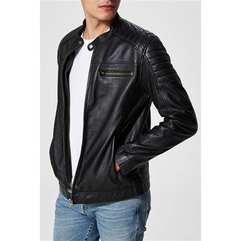 Selected - Veste en cuir - noir