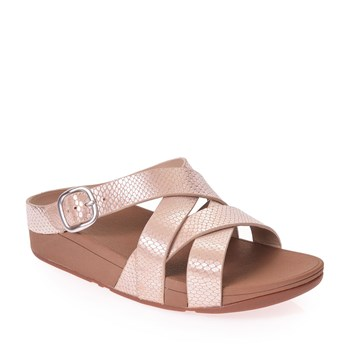 Cartago - The Skinny Criss-Cross Slide (Snake) - 4 - Sandales à plateforme en cuir - rose