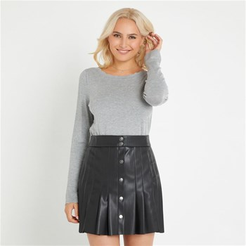 Naf Naf - Pull manches longues col fantaisie - gris