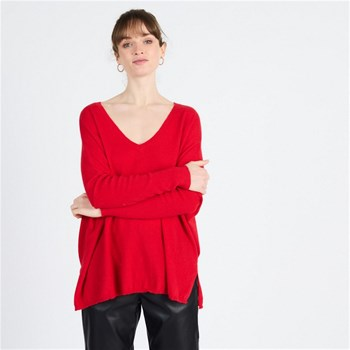 Artlove - Gaby - Pull large col V - rouge