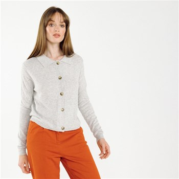 Artlove - Ginger - Cardigan maille fine col polo - gris