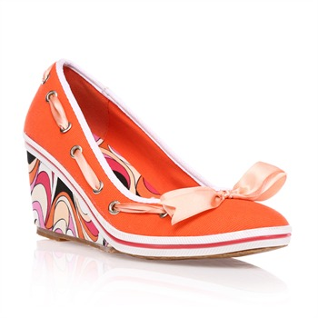 Bi4 - Ballerines orange à talon compensé - orange - 268648