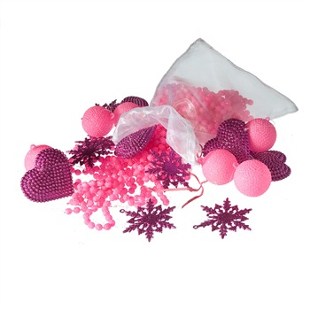 D corations de no l rose et violette rose sia ref for Decoration de noel rose