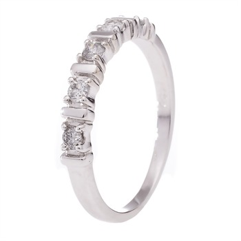 Alliance Barette - Bague en Or blanc et diamants