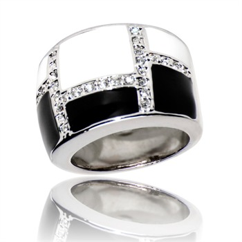 Bague à dames - La Black and White - Bague - bicolore